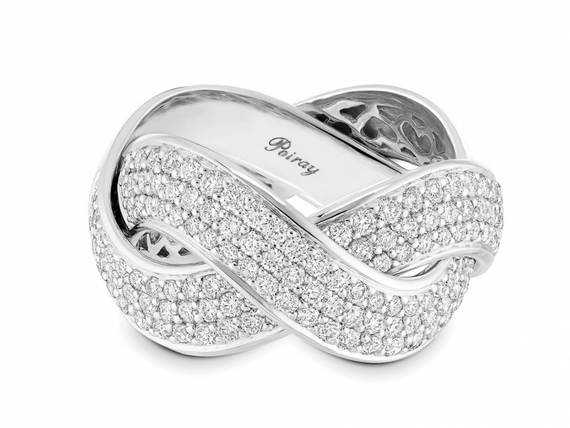 Poiray Ring Tresse in white gold set with diamonds