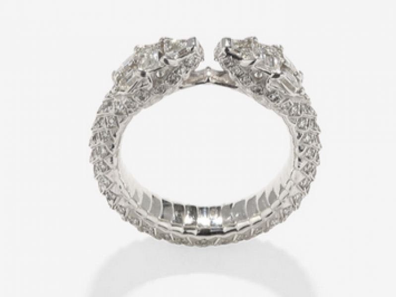 "8- Repossi: Ophydienne Diamond ring Inspired by the Ancient Greek culture and tradition in sculpture and engraving... Ophydienne comes from the Greek Ophidia translated by ""Snake"". Each piece is made by hand with custom cut diamond stones. (~ 12'000 Euros)"
