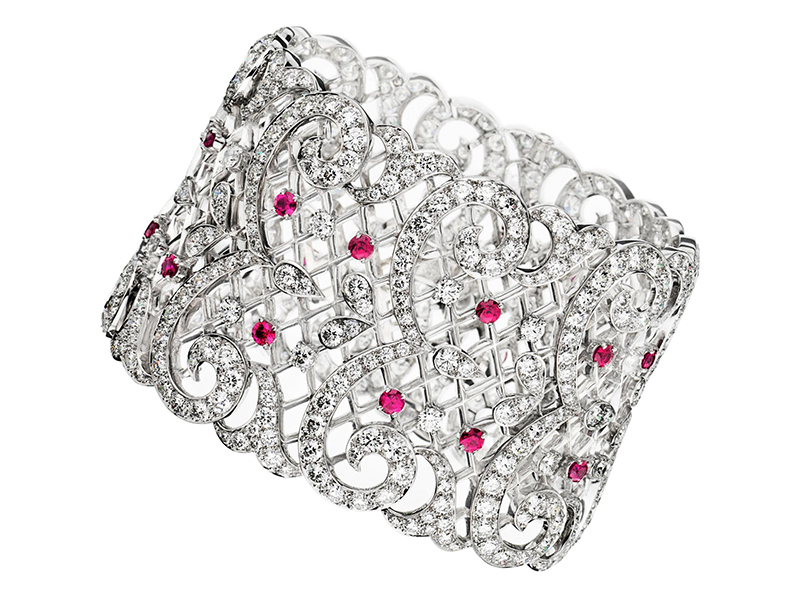Ritz Fine Jewellery Lace Diamond Cuff with Rubies set on White Gold - £160'000