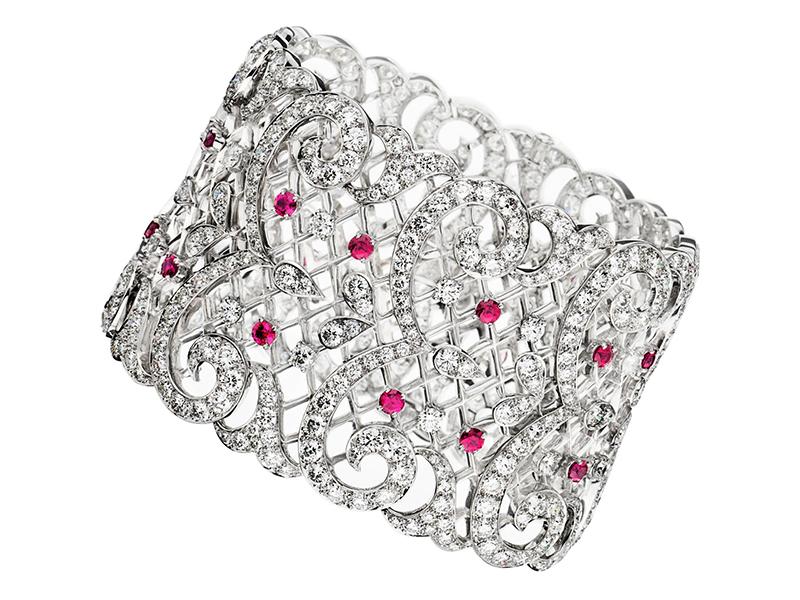 Ritz Fine Jewellery Lace Diamond Cuff with Rubies set on White Gold - £160'000
