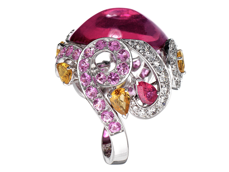 Ritz Fine Jewellery River Ring - 24.65 carats Cabochon pink tourmaline, diamonds, rubellite and sapphires set in white gold- £50'000