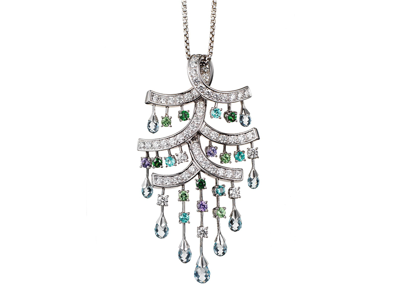 Ritz Fine Jewellery Parasol Pendant with aquamarine briolettes, paraiba tourmalines, diamonds, garnets and spinels set in white gold- £45'000