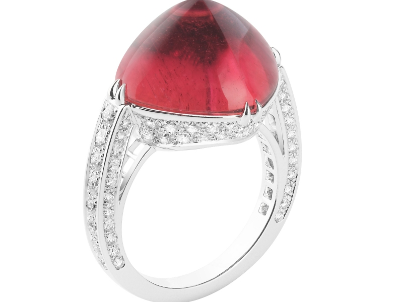 Boucheron Bleu de Jodhpur Collection - Joy Ring with a Rubellite cabochon
