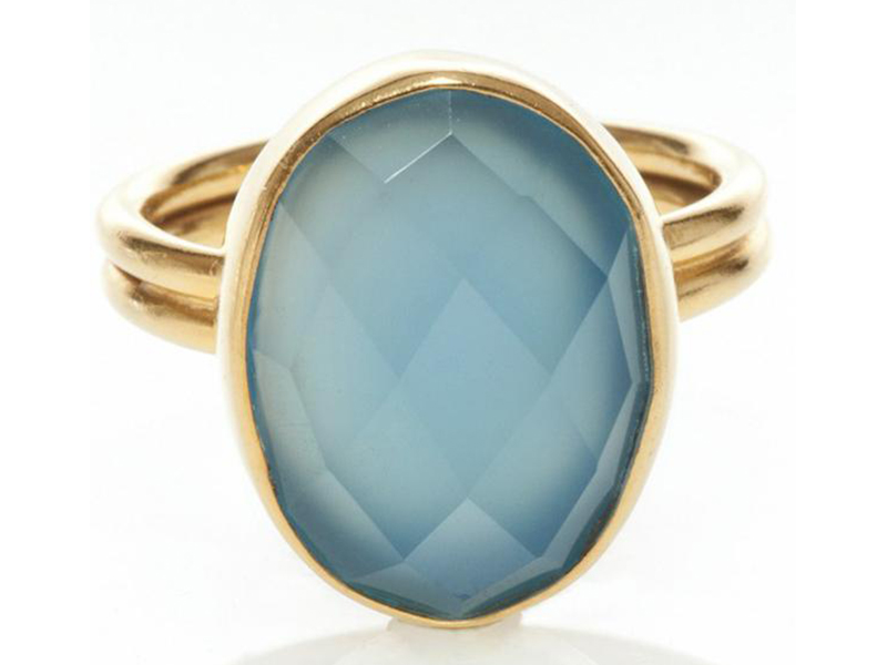 Sestra Semi-Precious Ring mounted on golden brass and set with an Indian Stone- 84 Euros