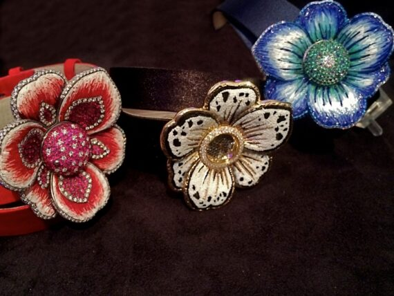 Sicis Gardenia Flowers shaped watches with titanium and gold petals with micromosaic tesserae and diamonds