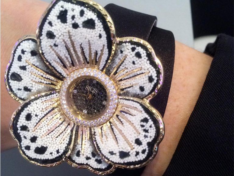 Sicis Gardenia Flower shaped watch with titanium and gold petals with micromosaic tesserae and diamonds