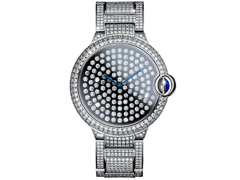 Cartier The developement of the vibrant setting on the existing Ballon Bleu is not only a technical prowess but a stupending result. 123 brilliant cut diamonds mounted on springs on the dial vibrate constantly as if a mini hearthquake was happening on your wrist.
