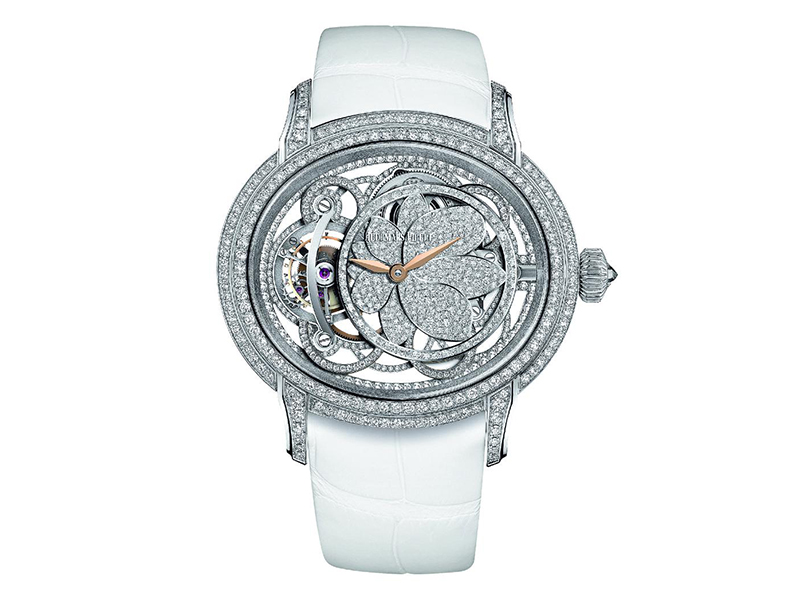 Ralph Lauren The Tuxedo watch with a satin strap, diamond paved case and buckle, this timepiece is more a piece of jewelry to worn with a chic and elegant gown embodying Ralph Lauren's perfect style.