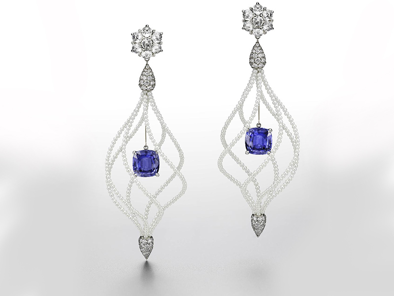 Lady hamilton earrings in white gold and titanium set with: 2 Ceylan Coussin Sapphires 8.08 cts 14 Domed Crown Diamonds 3.60 cts 278 Diamonds 3.32 Seed Pearls 33.68 cts