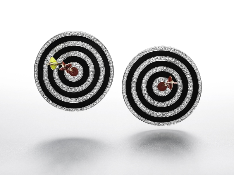 Hit the bullseye earrings in enamel, white gold, rose gold and silver set with: 388 Diamonds 4.08 cts