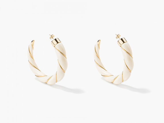 Aurélie Bidermann - Diana Ivory twisted hoop earrings mounted on yellow with bakelite