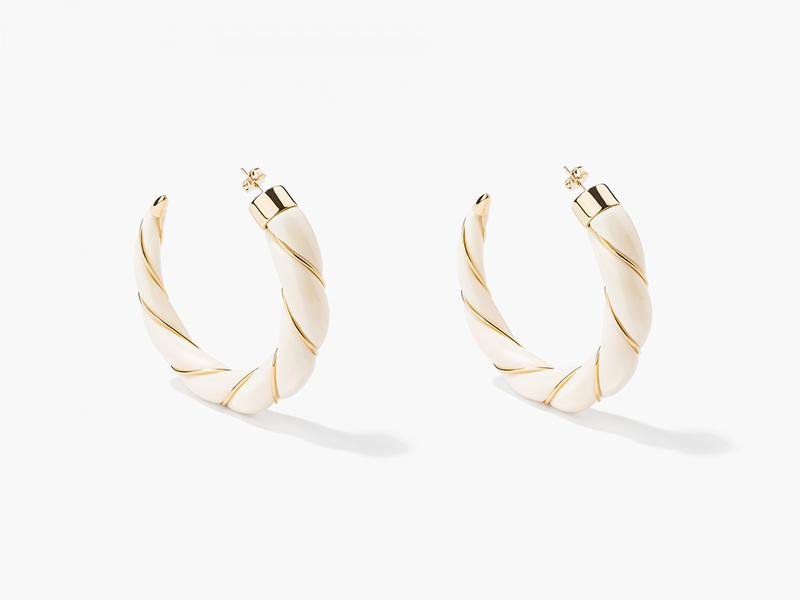 Aurélie Bidermann Diana Ivory twisted hoop earrings mounted on yellow with bakelite