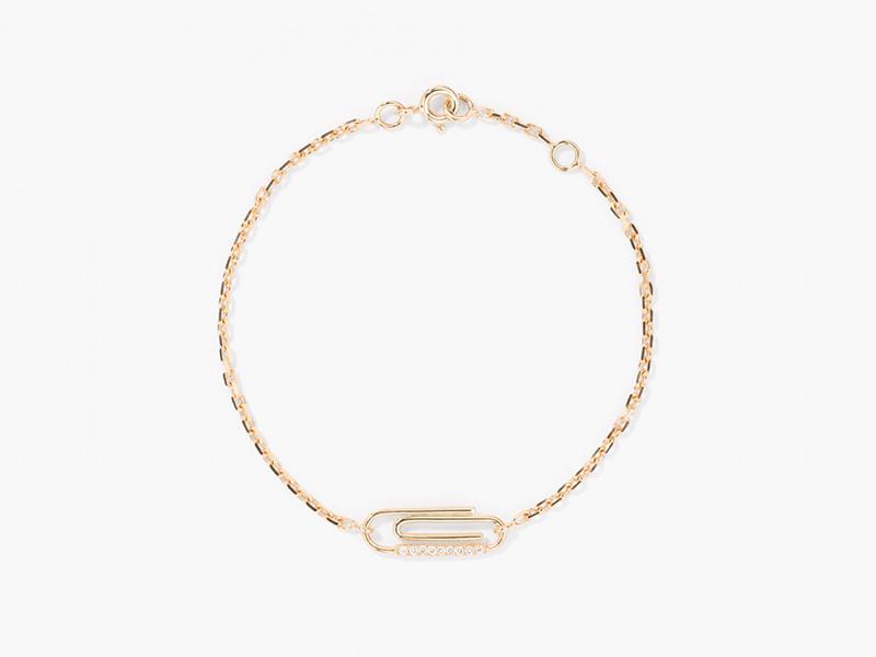 Aurélie Bidermann Paper clip diamonds bracelet mounted on yellow gold with diamonds