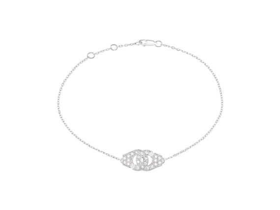 Dinh Van Menottes bracelet mounted on white gold with diamonds
