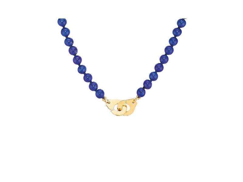 Dinh Van - Collier Menottes monté sur or jaune avec lapis lazuli