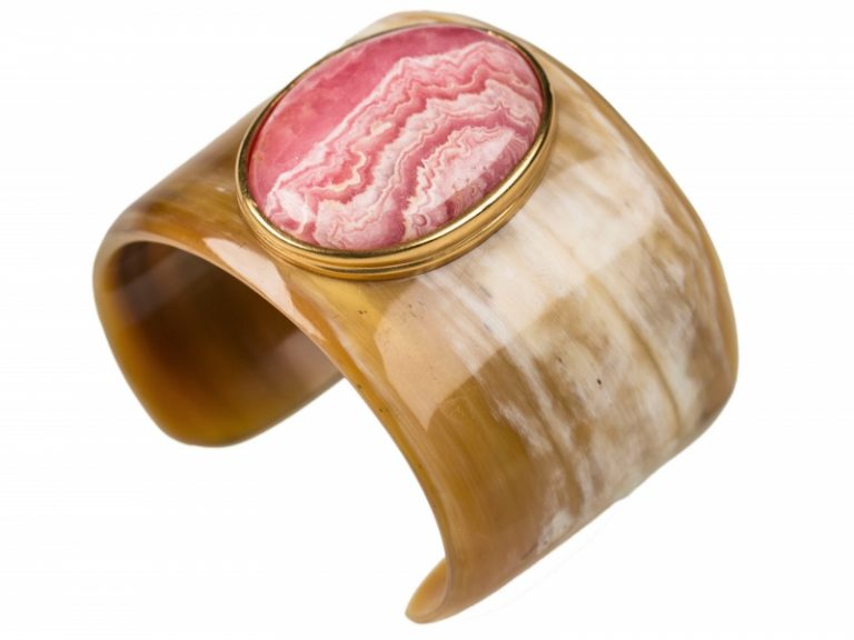 Helène Prime Horn and Rhodonite cuff