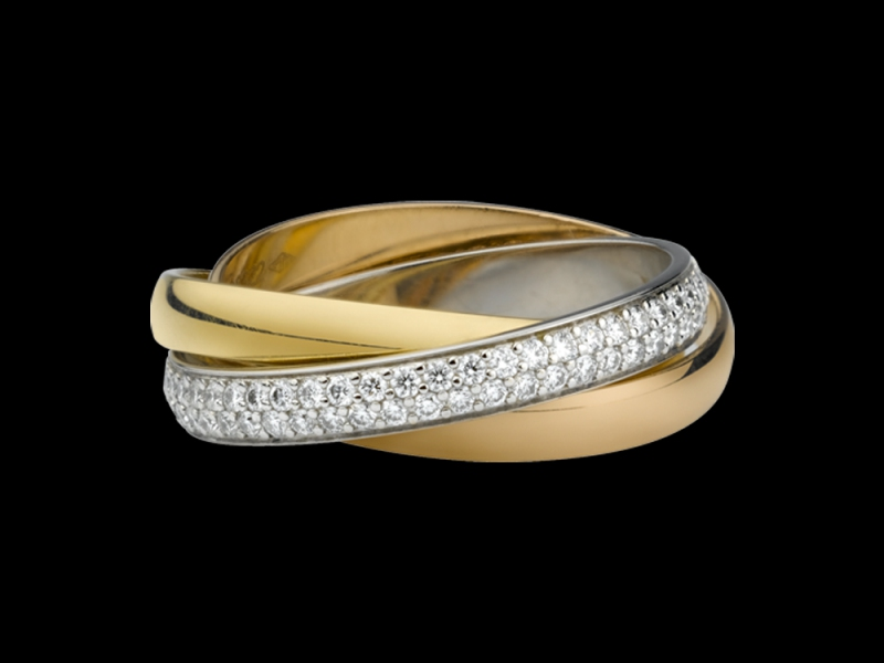 Trinity ring by Cartier mounted on white, rose and yellow gold with diamonds
