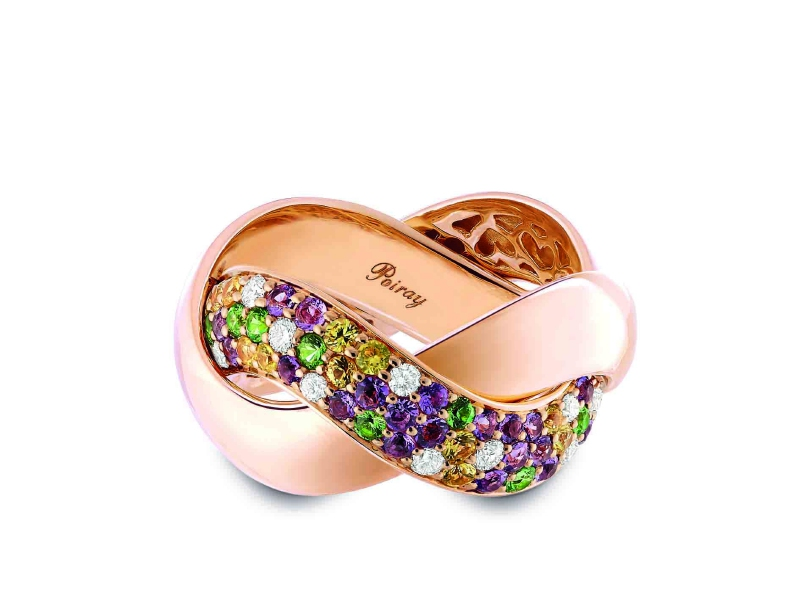 Red Gold with diamonds, green tsavorites, violet amethystes and yellow sapphire stones: ~ 4'590 Euros