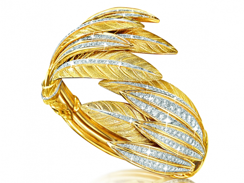 TIARA FEATHER BRACELET diamond, platinum and gold Verdura