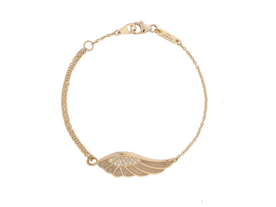 Garrard From the delicate Wings Reflection, a yellow gold bracelet set with white diamonds and enamel