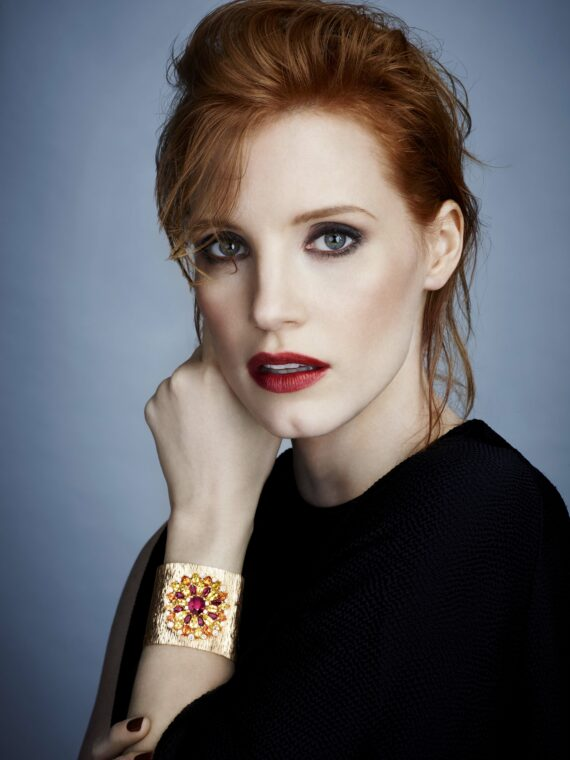 Jessica Chastain wearing a Piaget cuff