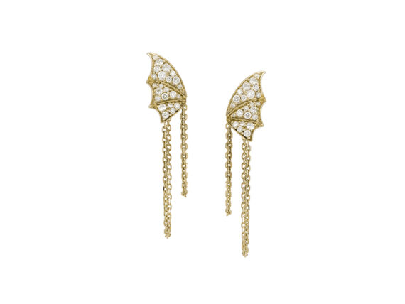 Stephen Webster Fly By Night Chain Pave Earrings set in 18ct yellow gold with white diamonds