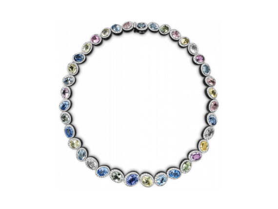 Bucherer - Pastello necklace mounted on grey gold with sapphires