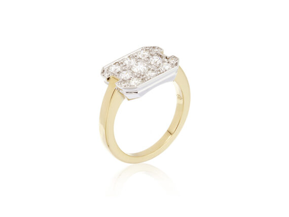 Virginie David Désirée ring mounted on yellow and white gold with round diamonds