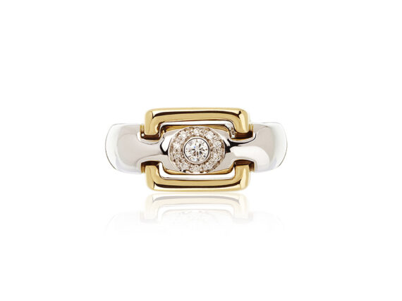 Virginie David Atherine ring mounted on yellow and white gold with round diamonds