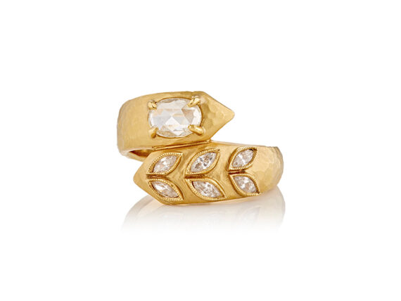 Cathy Waterman Deconstructed garland ring mounted on yellow gold with diamonds