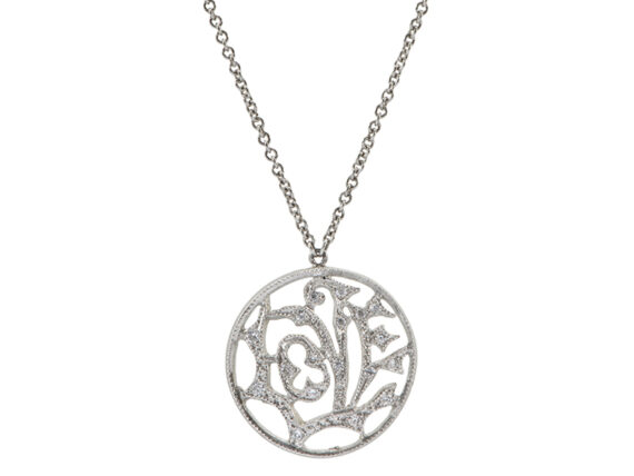 Cathy Waterman Love pendant necklace mounted on platinum with white diamonds