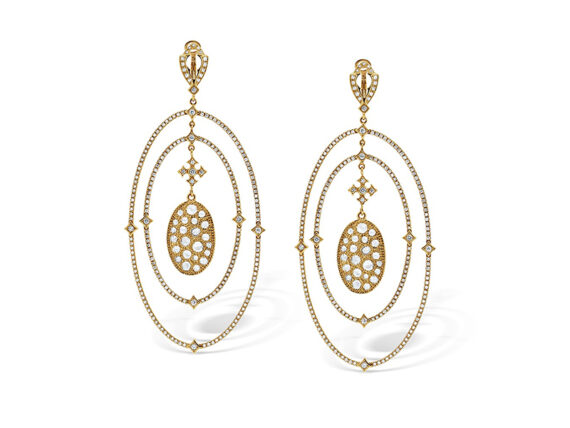 Loree Rodkin Oval Chandelier earrings mounted on yellow gold with white diamonds
