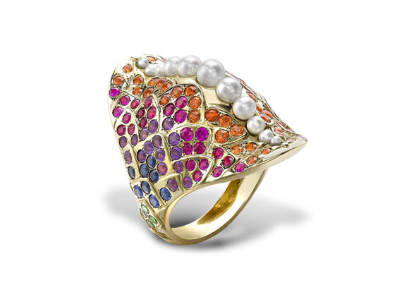 Venyx Una rainbow fish ring mounted on yellow gold with coloured stones and pearls