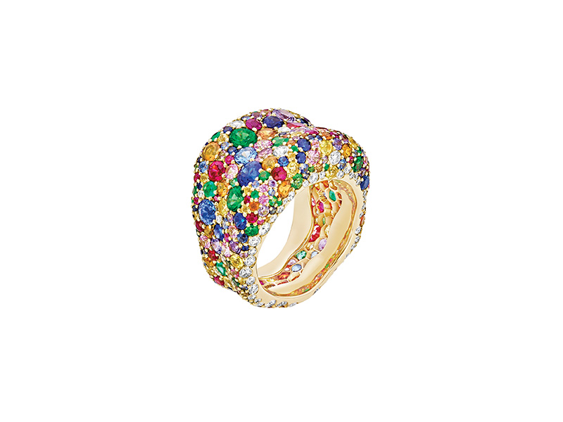 Faberge Emotion Multi colored ring features over 300 gemstones
