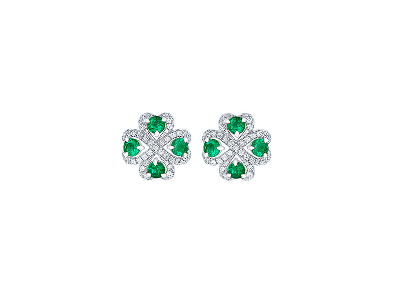 Faberge Imperial quadrille emerald earrings