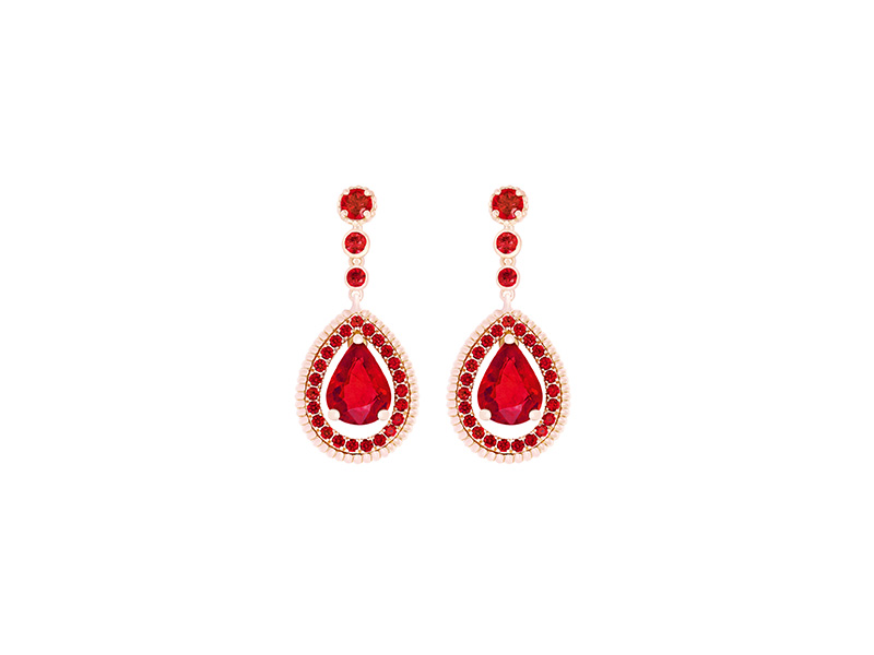 Faberge Three colors of love ruby drop earrings mounted on rose gold