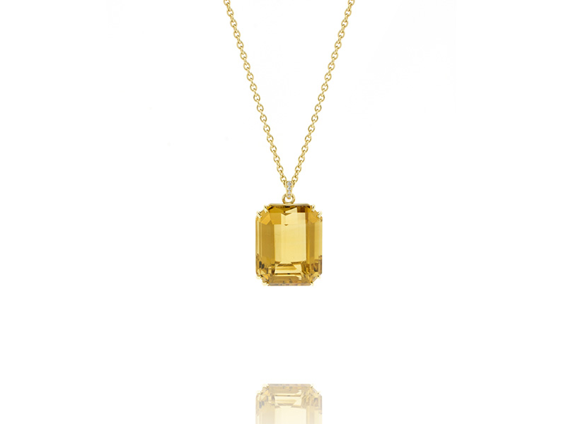 BenGems Pendant mounted on yellow gold set with one emerald-cut citrine and 4 diamonds