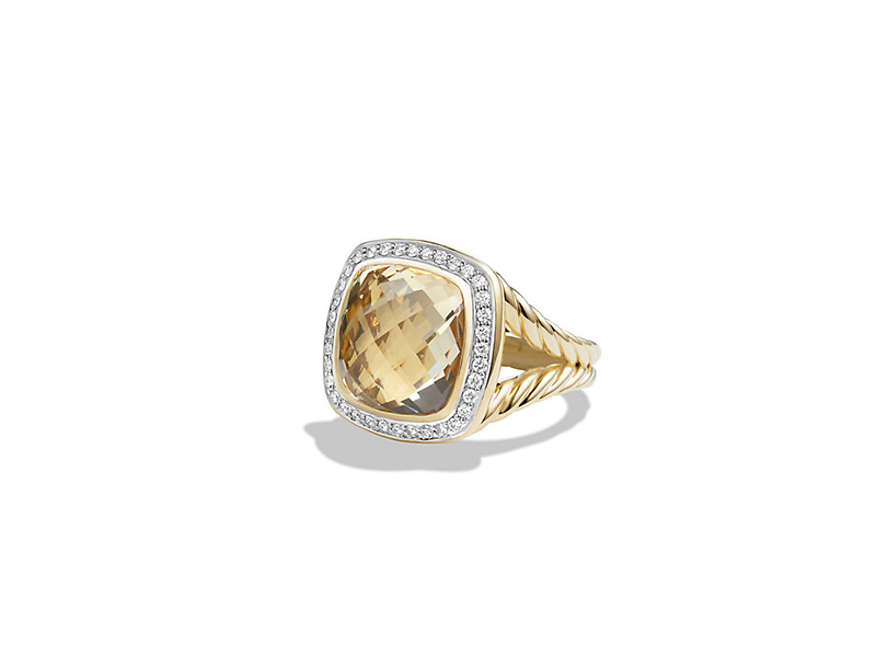 David Yurman From The Albion Collection - Ring with champagne citrine and diamonds mounted on yellow gold