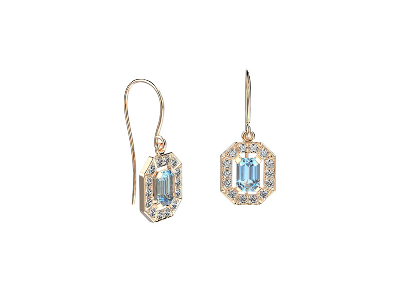Gemmyo Gatsby earrings mounted on rose gold with topaz and diamonds