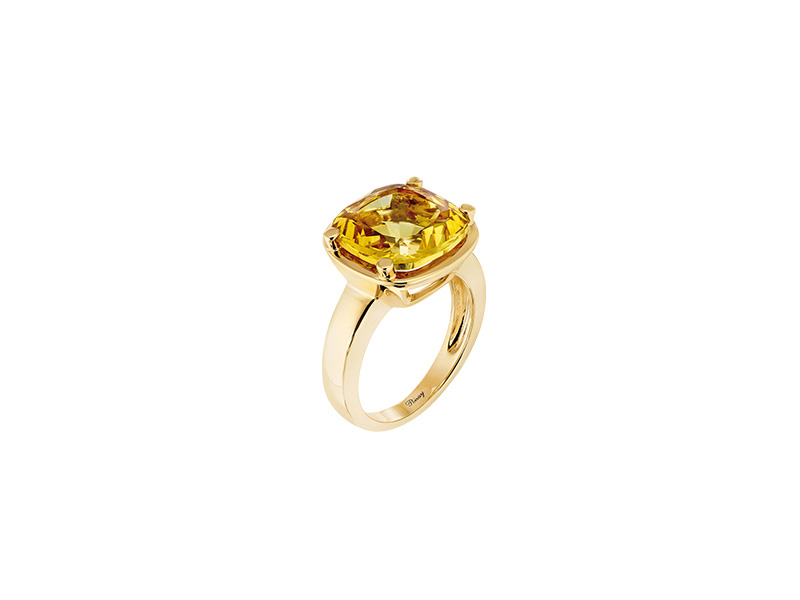 Poiray Bague Filles Antik mounted on yellow gold with citrine palmera