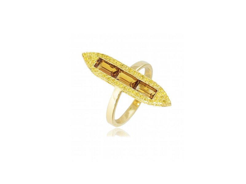 Ralph Masri From Sacred Windows collection - Ring mounted on 18ct gold with yellow diamonds and citrines