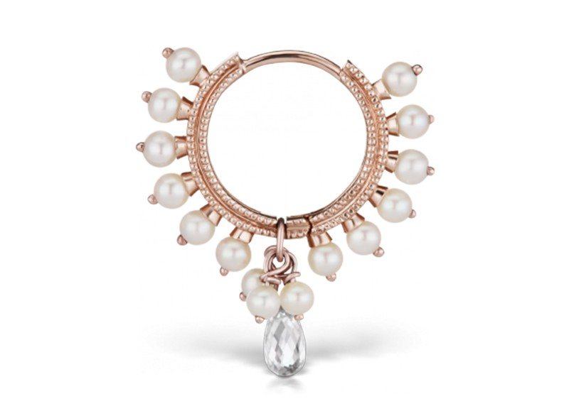 Maria Tash Pearl coronet ring (earlob) mounted on rose gold with diamond briolette
