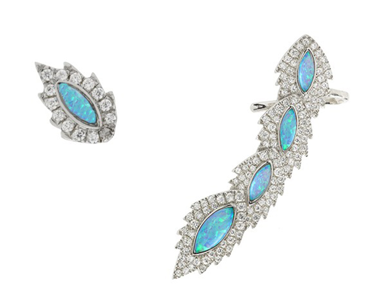 Aaron Jah Stone Phoenix Earrings - set on white gold with black opal and diamonds