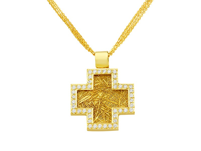 Anastazio Kotsopoulos DEEP FAITH Cross pendant set as an ancient symbol representing the balance between the elements earth, water, wind and fire.Made with 18cts yellow gold adorned with 44 brilliant round diamonds (0.81ct.)