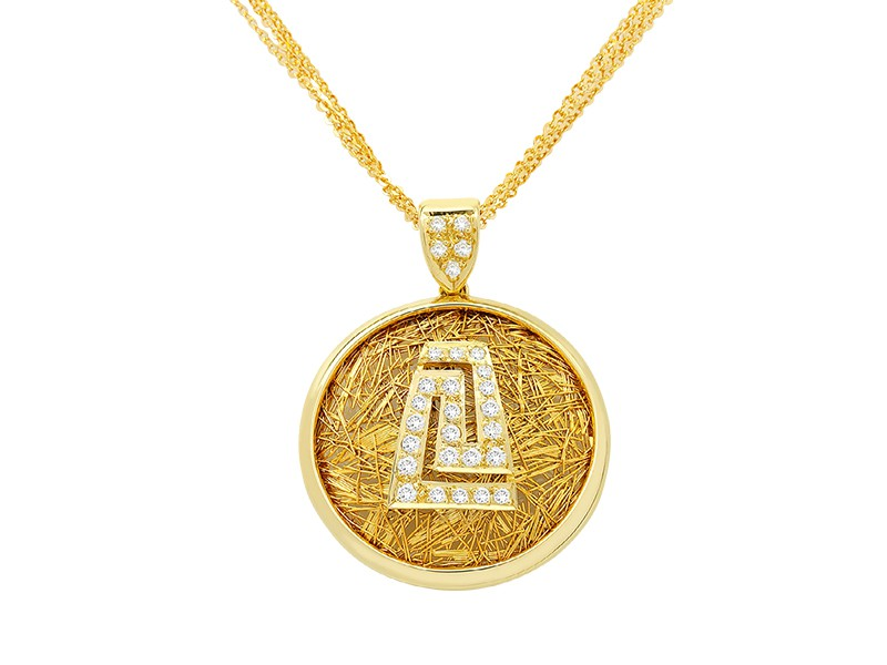 Anastazio Kotsopoulos MEANDER Pendant is the oldest Greek symbol. The Meander symbolises victory and unity, infinity and eternal life as well as our journey in this world. Twenty-two brilliant round diamonds (0.42ct) create the most known Greek symbol in the middle of a perfect cycle of yellow gold