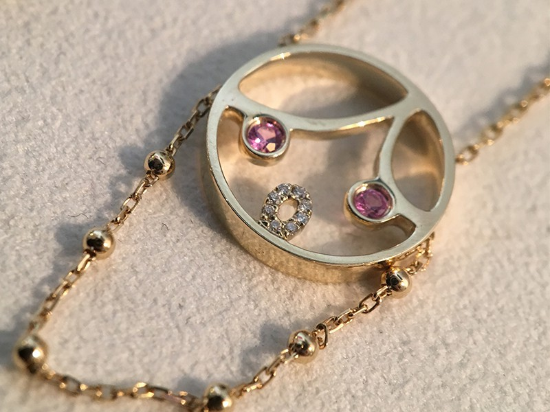 Ruifier moyen pink lady pendant gold diamond sapphire eyes