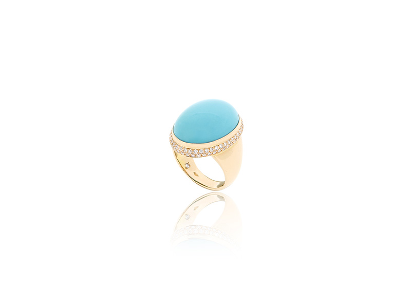 BenGems Ring mounted on rose gold set with one cabochon turquoise and 90 diamonds