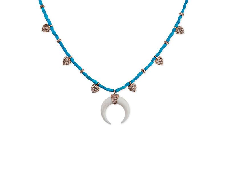 Jacquie Aiche 6 heart double bone horn turquoise choker