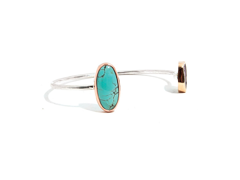 Melissa Joy Manning Ruby and turquoise open faced cuff