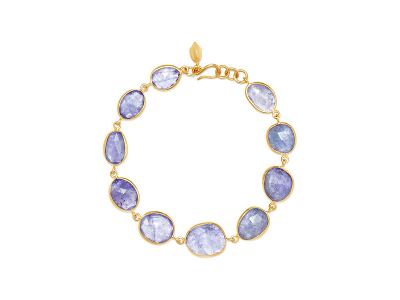 Pippa Small Bracelet mounted on yellow gold with tanzanite